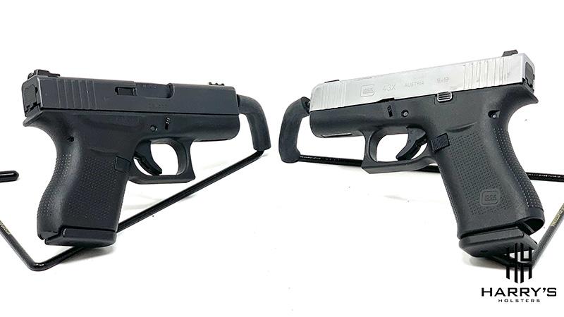 Glock 43 vs Glock 43x facing