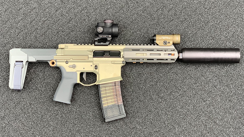 Honey Badger Pistol Collasped Right Suppressed