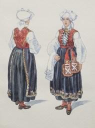 Festdräkt för gifta kvinnor. Akvarell E. v. Walterstorff. Nordiska Museet