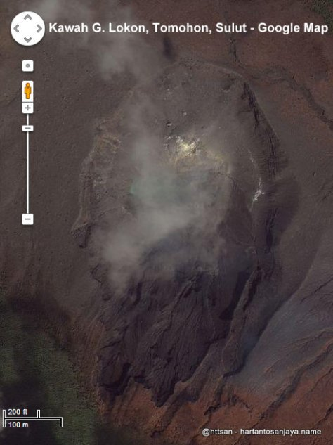 Kawah Gunung Lokon yang Berubah Bentuk Dilihat dari Satelit