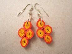 Cercei hartie quilling made by Hartiutze Atelier Paper Made Culori: galben, oranj Latime hartie: 3mm