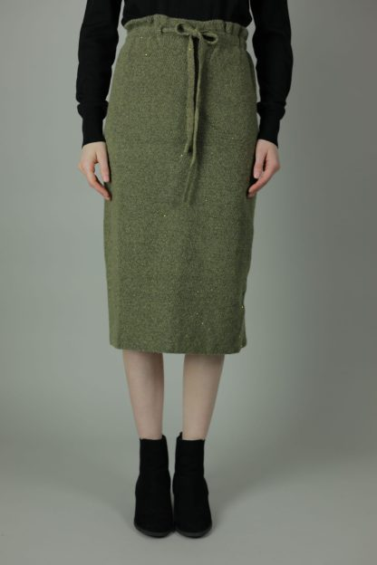 A Wool straight Skirt - Elastic waist with string tie for a comfortable, stylish everyday look. Crafted from soft wool, this skirt can be worn as a loose straight style or more fitted as a pencil skirt style.