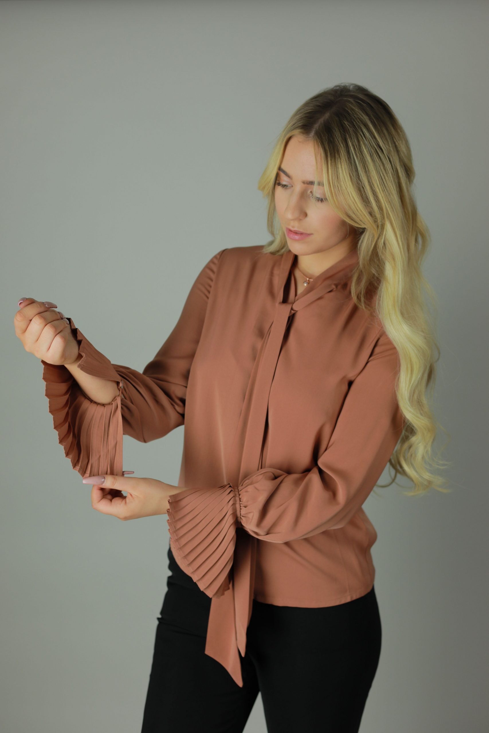 The Ruffle Cuff Blouse is the perfect mix of contemporory and Victorian style to compliment any outfit, work, casual or formal this blouse is timeless.