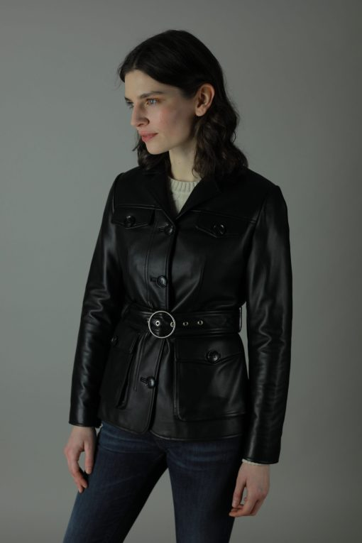 Modern twist on a vintage style. The 100% Leather Rita Jacket is the is biker jacket with a twist of the 60s. Bringing to life the eclectic, the Rita can be worn as part of a casual or more formal outfit. With its waist belt, minimal design and smooth leather the Rita embodies it all.