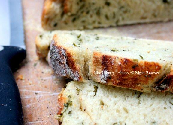garlic basil pepper crust artisan bread.