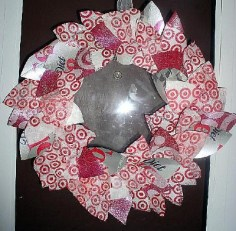 Wreath created from diet coke cartons and fused target bags