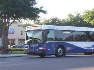 #2601, fresh from the paint shop, pulls into Britton Plaza. Photo taken by HARTride 2012. October, 2011.
