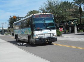 #2310 leaving the Marion Transit Center, Route 100X. Photo Credit: Carlos A.