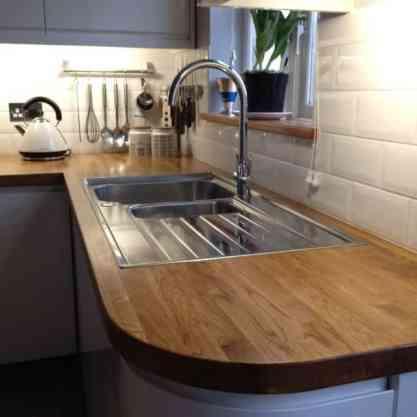 Oak worktop with sink