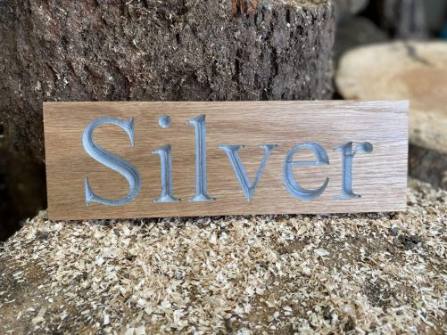 Silver painted text