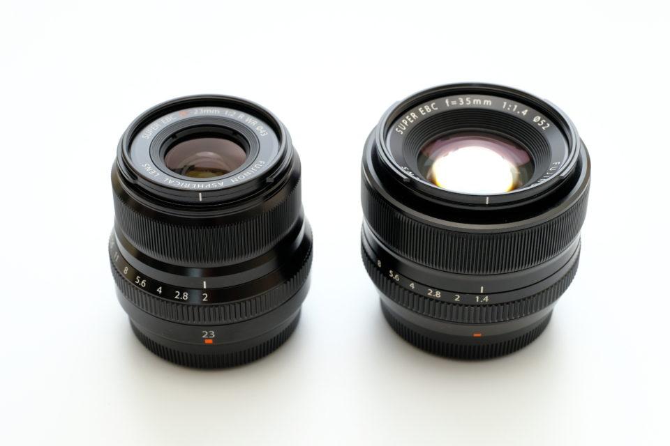 XF23mm F2 XF35mm F1.4 サイズ比較