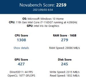 Razer Book 13,RZ09-03571JM1-R3J1,CPU,Core i7-1165G7,性能,ベンチマーク,比較,novabench