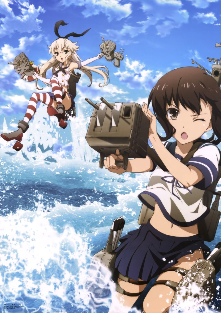 Haruhichan.com Megami MAGAZINE January 2015 anime posters anthropomorphization fubuki_(kancolle) heels kantai_collection katou_hiromasa rensouhou-chan seifuku shimakaze_(kancolle) thighhighs