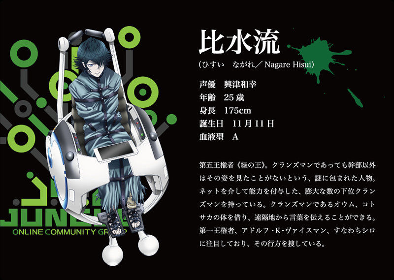 K 2nd Season Visuals and Additional Cast Revealed Main Cast Character Design green king nagare hisui