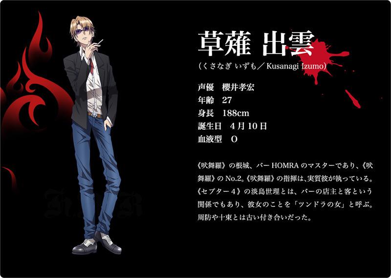 K 2nd Season Visuals and Additional Cast Revealed Main Cast Character Design izumo kusanagi