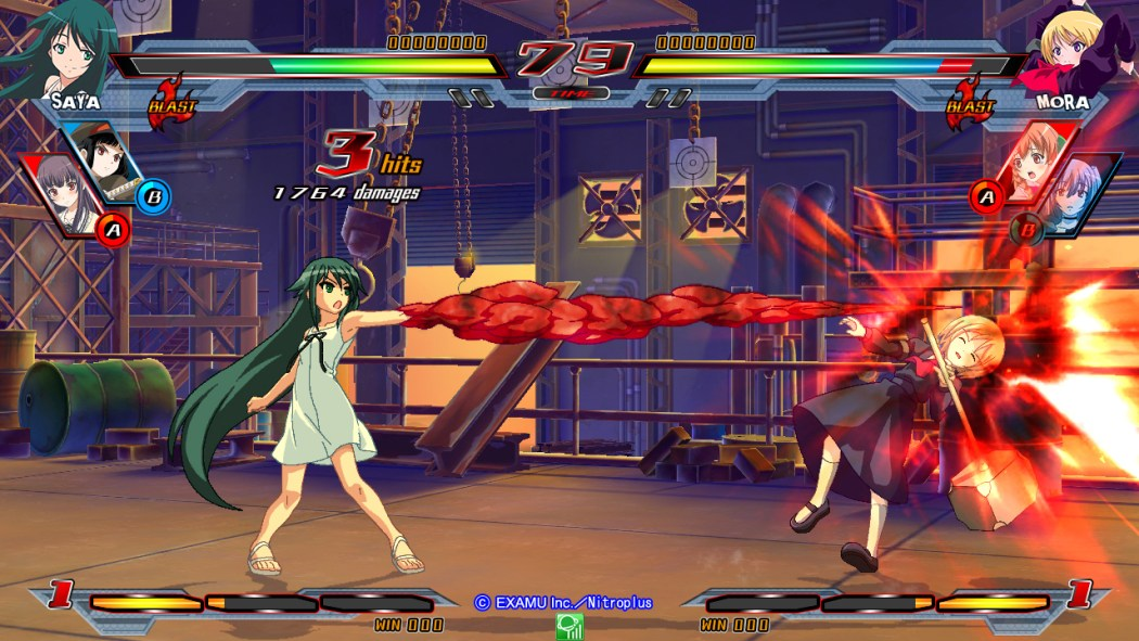 Nitroplus Blasters Heroines Infinite Duel Gameplay haruhichan.com Visual Novel Fighter game screenshot 2