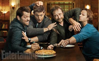 SUPERNATURAL Misha Collins, Jensen Ackles, Mark Sheppard and Jared Padalecki photographed on the Supernatural set in Vancouver, Canada on August 23, 2016 Photograph by Matthias Clamer Hair: Jennifer Manton; Makeup: Trisha Porter; Wardrobe: Kerry Weinrauch; Props: Karolina Grant; Production: Susan Milne