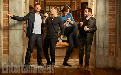 SUPERNATURAL Misha Collins,†Jensen Ackles,†Jared Padalecki and†Mark Sheppard photographed on the Supernatural set in Vancouver, Canada on August 23, 2016Photograph by Matthias ClamerHair:†Jennifer Manton; Makeup:†Trisha Porter;†Wardrobe:†Kerry Weinrauch;†Props: Karolina Grant;†Production:†Susan Milne