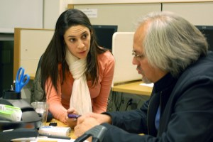 A law student speaks with a HIRC instructor.