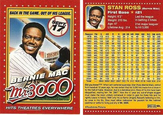 Stan Ross' baseball card as seen in the movie Mr. 3000