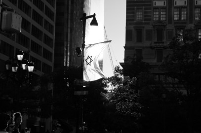 Approaching Benjamin Franklin Parkway which is lined with flags from around the world. Philadelphia, PA, July 2014