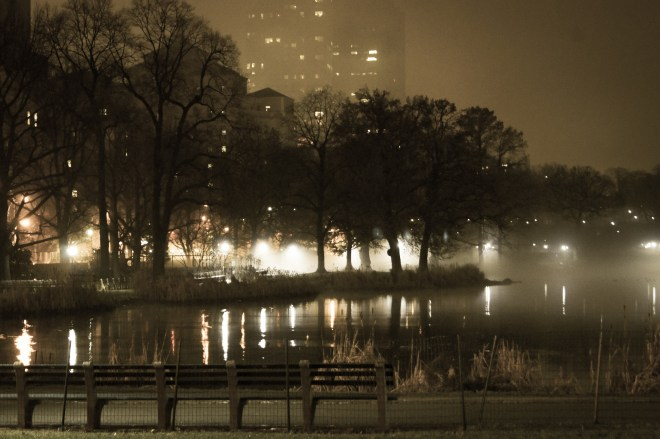 Foggy mist on Harlem Meer, Christmas Eve, 2014