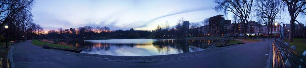 2014 Photo Challenge, Week 13 Submission: Landscape, Vanishing Road/Walkway I took this as an opportunity to play more with ICE. This is a stitched panorama of Harlem Meer, a pond in Central Park and its surrounding walkway. Sony A33, f/4.5, 1/40 sec, ISO 100