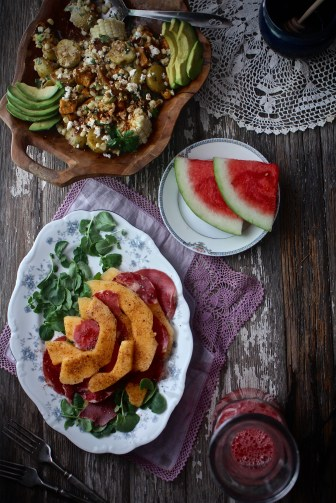 Roasted Two-Potato Salad, Melon & Prosciutto with Honey