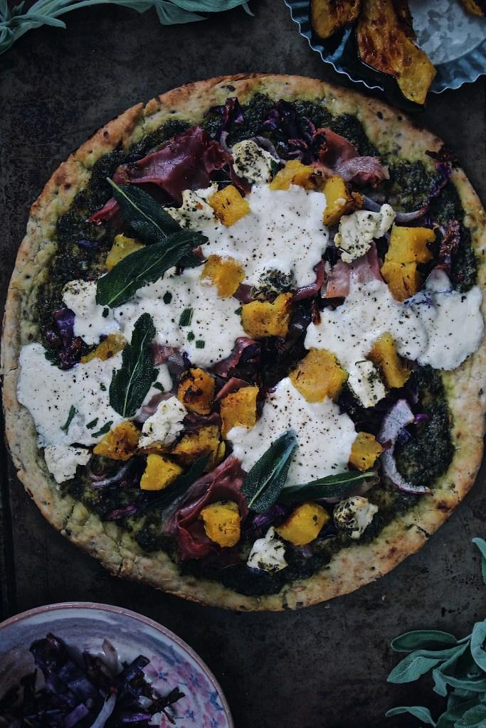 Winter Squash Flatbread Pizza with Pesto, Prosciutto & Burrata