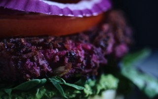 The Red Earth Burger (marinated veggie burger)
