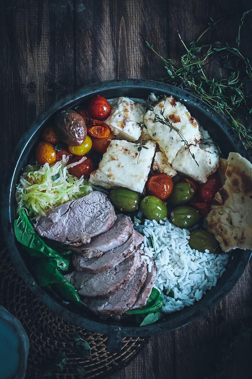 Greek-Style Pork Tenderloin and Honey-Baked Feta Bowls