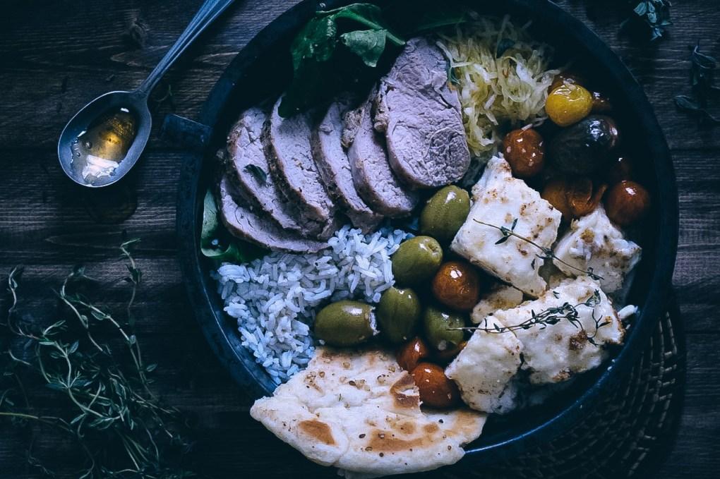 Greek-Style Pork Tenderloin & Honey-Baked Feta Bowls