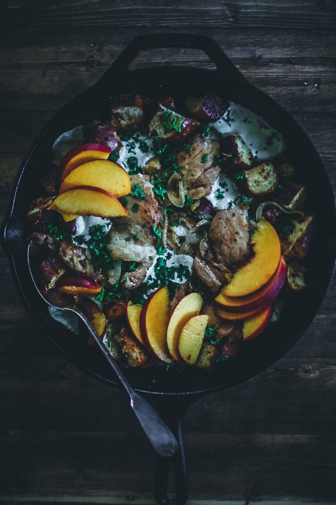 One-Pan Chicken with Salty Peaches and Caramelized Onions