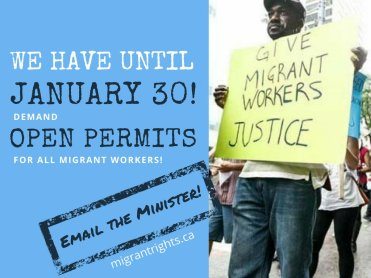 We have until January 30th! Demand open work permits for all migrant workers. Email the minister: migrantrights.ca