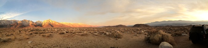 The Eastern Sierras and the Alabama Hills all seen from our campsite