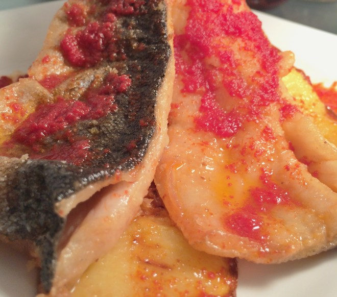 Pan Fried Trout with Smoked Butter Tomato Sauce closeup