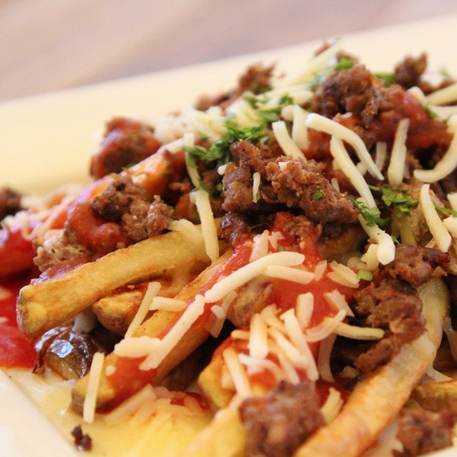 Venison Enchilada Fries Close