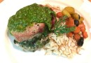 Spinach Stuffed Wild Boar Loin with Arugula Pistachio Pesto
