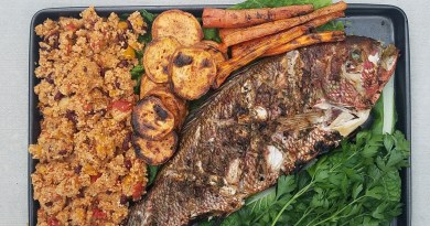 Grilled Caribbean Snapper with Couscous and Grilled Vegetables