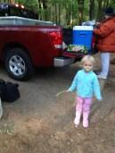 Miss Baby Girl enjoys the morning air at camp.