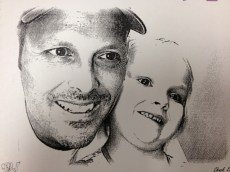 "Spent some time at Chuck E. Cheese today for a birthday party. Me and baby girl got our ""sketches"" done. Yes, I am growing out a diabolical goatee."