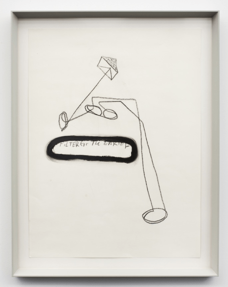 """JJ PEET, """"FiLTER for The EARTH"""", 2012 Graphite and oil stick on paper 24 by 18 inches"""