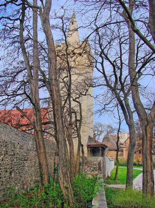 Bild: Kuntzes Turm von der Johannispromenade zu Aschersleben aus gesehen.