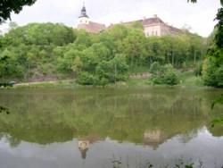 Bild: Das Schloss Walbeck spiegelt sich im Fischteich.