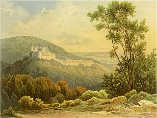 Bild: Schloss Rammelburg in einer historischen Abbildung aus den Jahren vor 1901. Dieses Bild ist gemeinfrei, weil seine urheberrechtliche Schutzfrist abgelaufen ist.