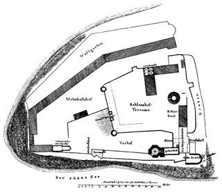 Bild: Grundriss des Schlosses Seeburg. Dieses Bild ist gemeinfrei, weil seine urheberrechtliche Schutzfrist abgelaufen ist.