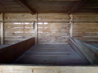 Bild: Bettenverschlag in einem Konzentrationslager (Aufnahme in Gedenkstätte KZ Dachau).