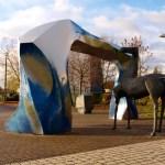 Bild: Eisleben - Das Denkmal HUNT, STOLLN UND GRUBENPFERD.