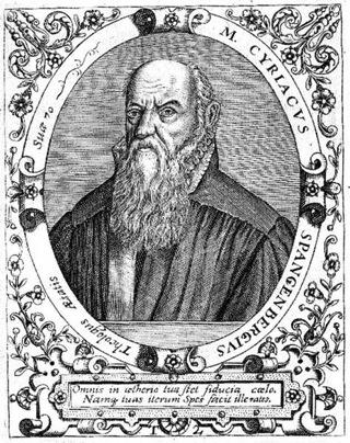 Bild: Cyriacus Spangenberg von Theodor de Bry (1528–1598). Dieses Bild ist gemeinfrei, weil seine urheberrechtliche Schutzfrist abgelaufen ist.