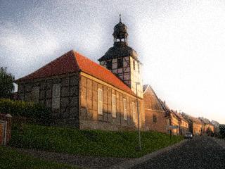 Bild: Die Kirche von Molmerswende im Jahre 2009. Der Kirchturm ist inzwischen abgetragen. Originalfoto © 2009 by Bert Ecke. Render © 2012 by Birk Karsten Ecke.